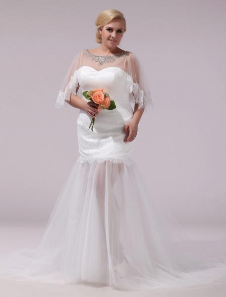 Milanoo Plus Size Wedding Dress Sweetheart Illusion Tulle Bridal Dress Beading Sheath Ivory Half Sleeve Back Keyhole Sweep Train Wedding