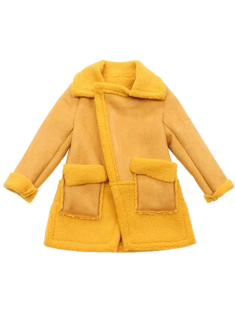 Ericdress Plain Suede Patchwork Lapel Girl's Coat