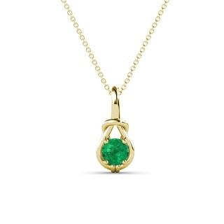 TriJewels Gemstone Women Solitaire Love Knot Pendant Necklace 14K Gold (Emerald - Yellow)