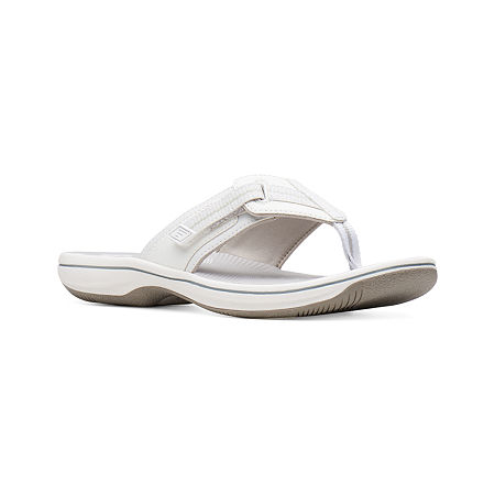 Clarks Womens Brinkley Jazz Flip-Flops, 9 Medium, White