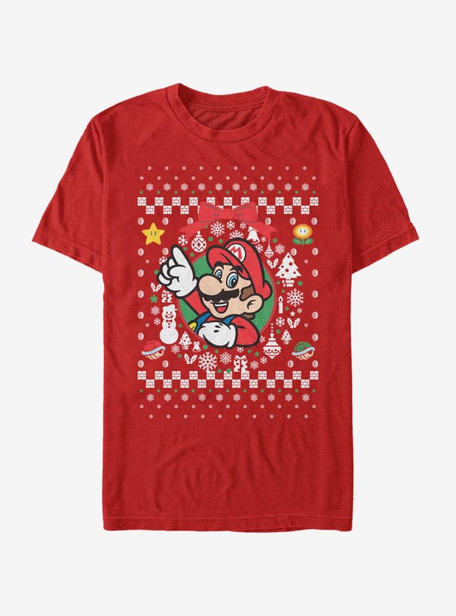 Nintendo Super Mario Wreath Mario Christmas Pattern T-Shirt