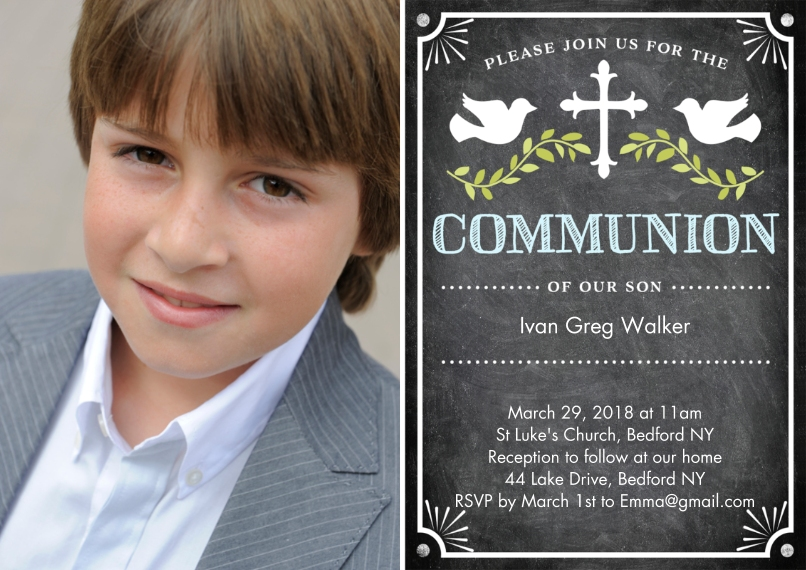 Communion 5x7 Cards, Premium Cardstock 120lb with Elegant Corners, Card & Stationery -Communion Doves with Cross