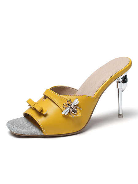 Milanoo Womens Yellow Open Toe Square Toe Slides Slippers Backless Sandals