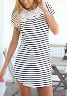 Lace Splicing Striped Mini Dress