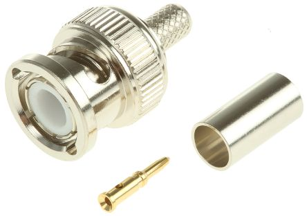 TE Connectivity Straight 50Ω Cable Mount BNC Connector, Plug, Nickel, Crimp Termination, RG141 A/U, RG58 C/U (100)
