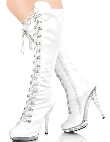 Milanoo Black Boots Platform Lace Up Patent PU Heels for Women
