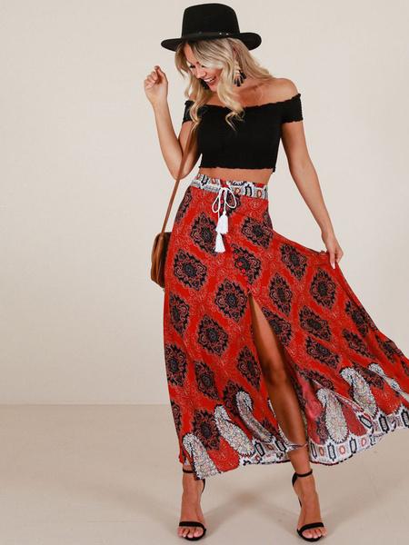 Milanoo Falda de Mujer 2020 roja verano, falda larga Estampado, faldat