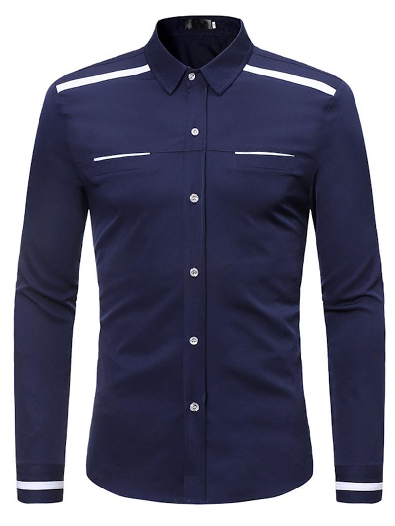 Ericdress Lapel Shoulder Cuff Striped Men's Slim Fit Shirts