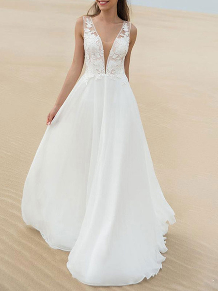 Milanoo Simple Wedding Dress A Line V Neck Sleeveless Lace Illusion Back Bridal Gowns