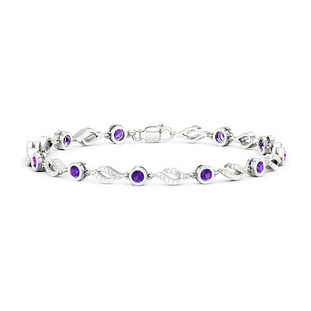 Diamond Accent Genuine Purple Amethyst Sterling Silver 7 Inch Tennis Bracelet, One Size , No Color Family