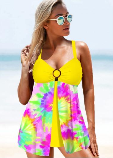 Split Front Tie Dye Print Rainbow Color Swimdress and Panty - M