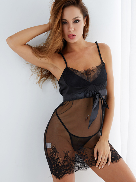 Yoins Sexy Deep V-neck Lace Trim Pajamas in Black with T-back