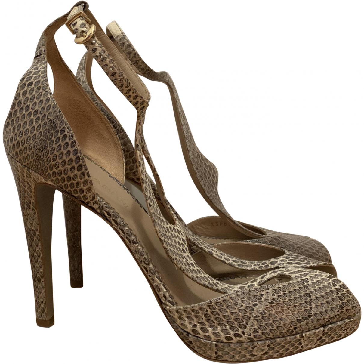 Emporio Armani \N Beige Water snake Sandals for Women 40 EU