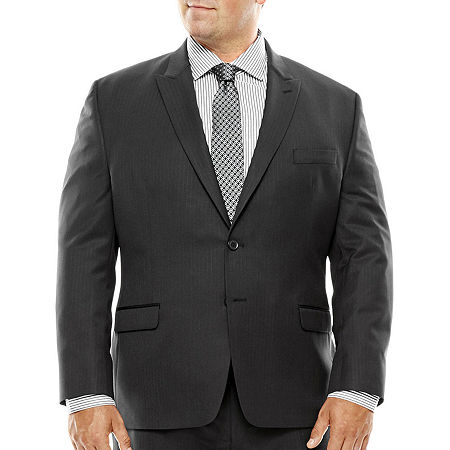 Collection by Michael Strahan Black Herringbone Suit Jacket - Big & Tall, 52 Big Long, Black