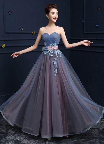 Milanoo Sweetheart Evening Dresses Strapless Tulle Prom Dresses A Line Floor Length Lace Up Applique Party Dresses With Sash wedding guest dress