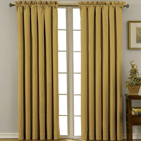 Eclipse Canova Rod-Pocket Blackout Curtain Panel, One Size , Yellow