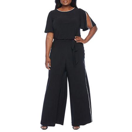 MSK Short Sleeve Embellished Jumpsuit-Plus, 2x , Black