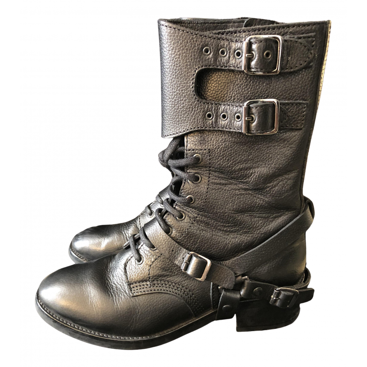 The Kooples \N Black Leather Boots for Women 37 EU
