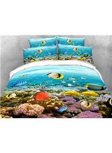 Fish in the Sea Soft Warm Duvet Cover Set 4-Piece 3D Animal Bedding Set