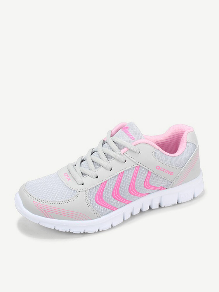 Big Size Casual Color Match Sport Breathable Mesh Lace Up Sneakers