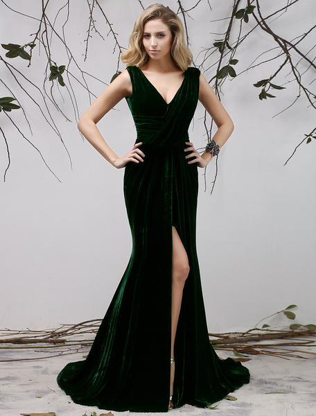 Milanoo Dark Green V-Neck Pleated Mermaid Sleeveless Velvet Evening Dress Wedding Guest Dress  wedding guest dress