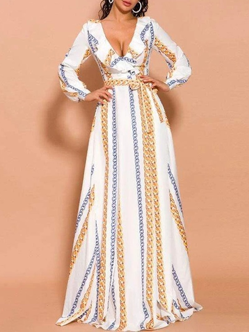 Ericdress Floor-Length Split Long Sleeve Regular Color Block Dress