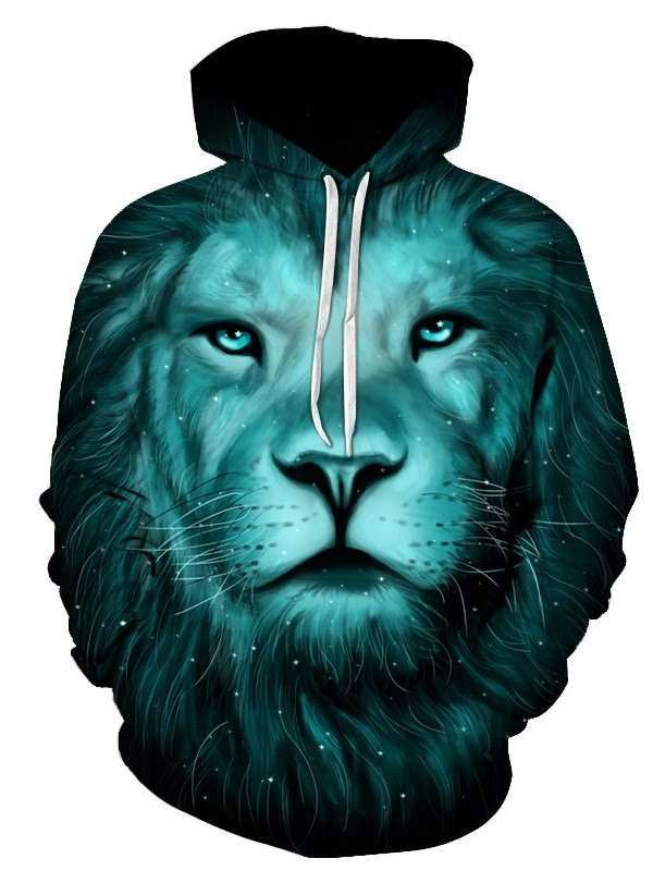 Novelty Fashion 3D Digital Printed Pullover Hoodies with Tiger Design