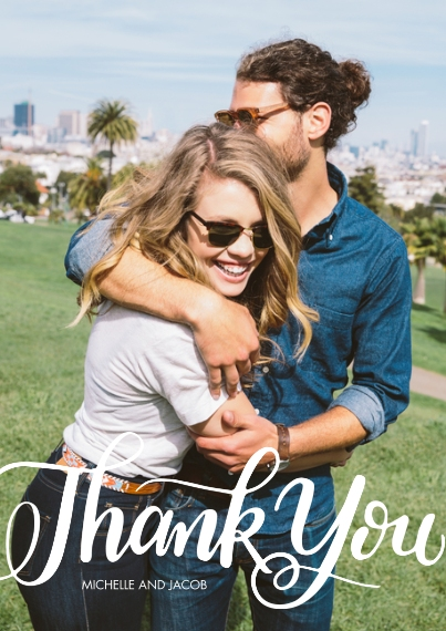 Thank You Cards Flat Glossy Photo Paper Cards with Envelopes, 5x7, Card & Stationery -Thank You Scripted by Tumbalina