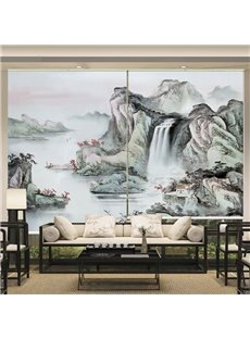 Chinese Style Ink Landscape Printing 1 Panel Roller Shades