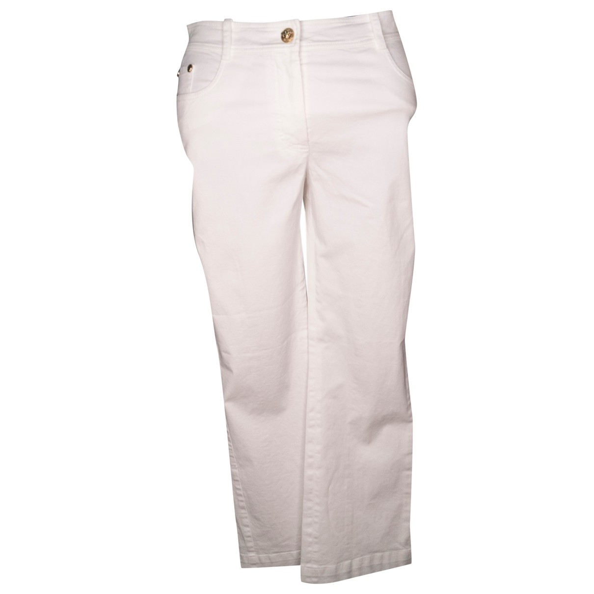 Versace \N White Cotton Trousers for Women 42 IT