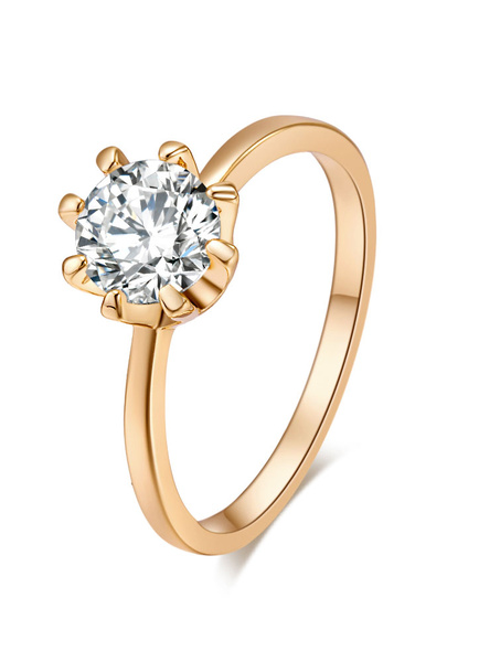 Milanoo Gold Engagement Ring Crystal Copper Round Rings For Women