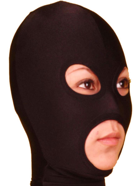 Milanoo Halloween Black Open Eye And Mouth Lycra Spandex Hood Halloween