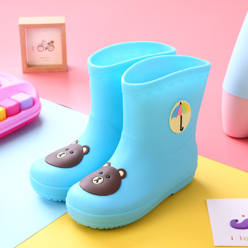 Unisex Kids Cartoon Pattern Waterproof Non Slip Soft Sole PVC Rain Boots