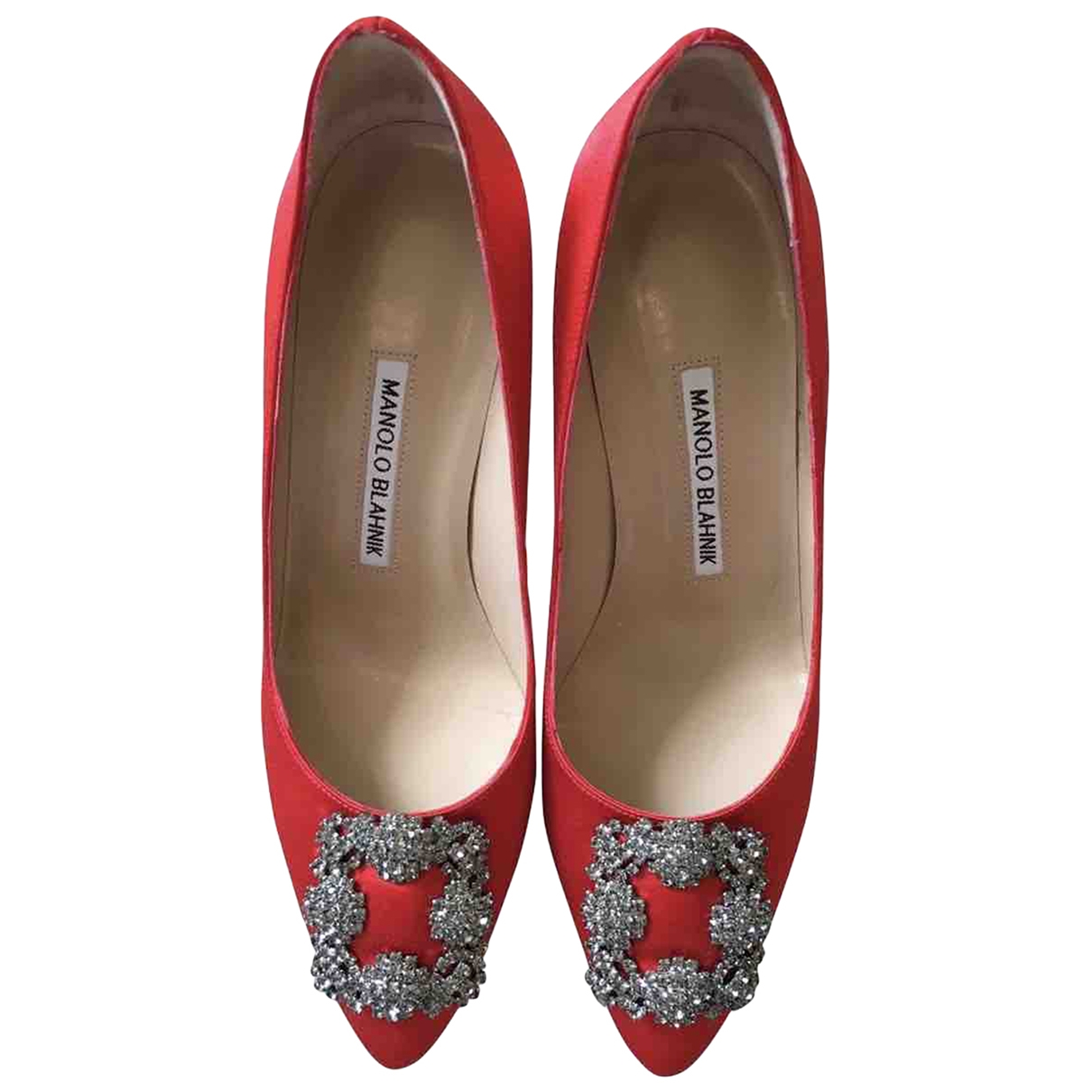 Manolo Blahnik Hangisi Red Cloth Heels for Women 5 UK
