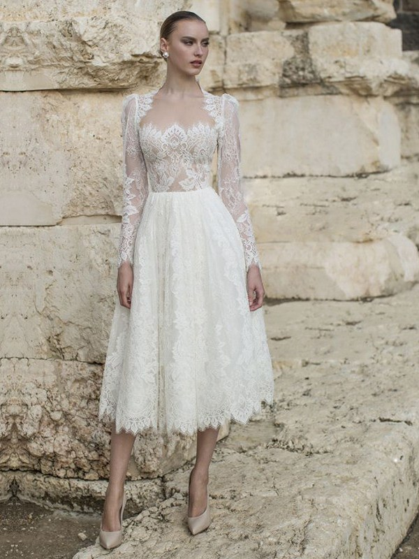 Ericdress Tea-Length Lace A-Line Long Sleeves Church Wedding Dress 2020