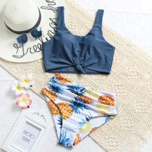 Pineapple Print Knot Hem Ruched Bikini Swimsuit