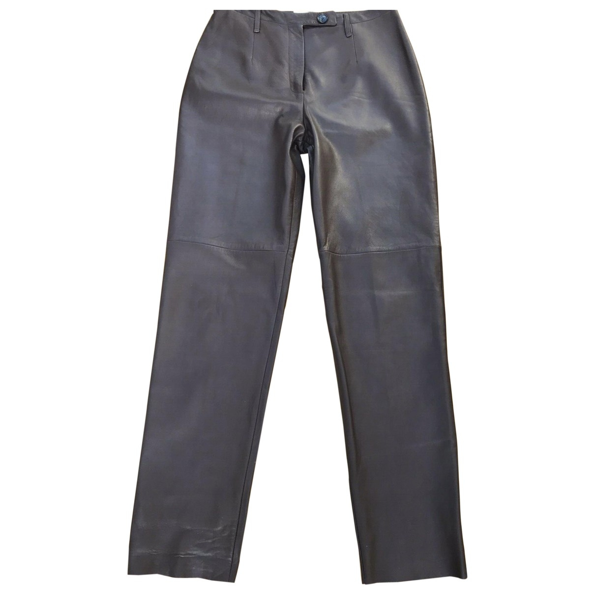 Yves Saint Laurent \N Brown Leather Trousers for Women 10 US