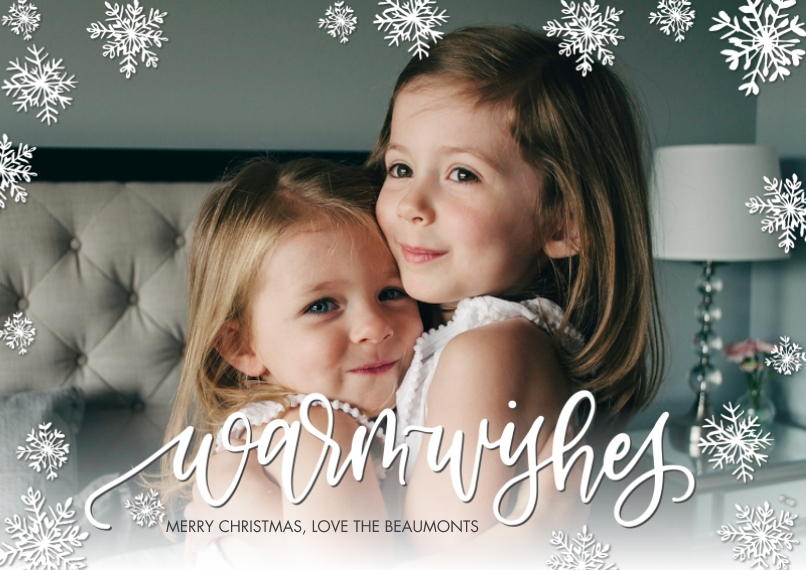 Christmas Photo Cards 5x7 Cards, Premium Cardstock 120lb with Rounded Corners, Card & Stationery -Christmas Warm Wishes by Tumbalina