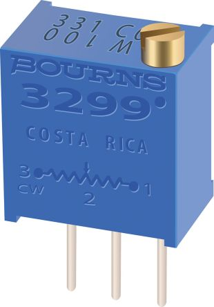 Bourns 10kΩ, Through Hole Trimmer Potentiometer 0.5W Top Adjust , 3299 (50)