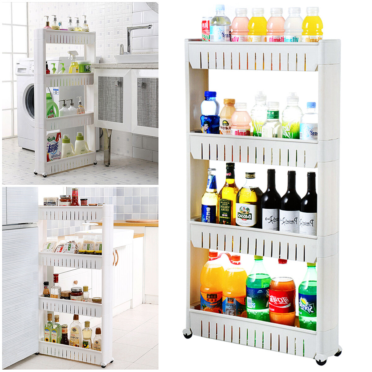 3/4 Tier Rolling Kitchen Trolley Storage Organizer Storage Tower Spice Rack Slide Out Storage Laundry room L