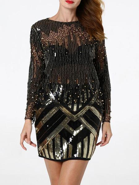Milanoo Flapper Long Sleeves Top Black Gold Sequins Sheer 1920s Great Gatsby T Shirt