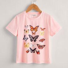 Girls Butterfly Print Short Sleeve Tee