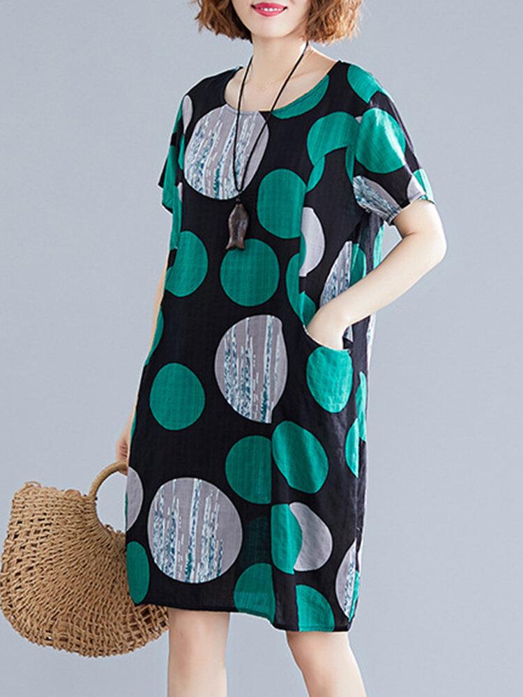 Polka Dot Print Short Sleeve Dress for Women