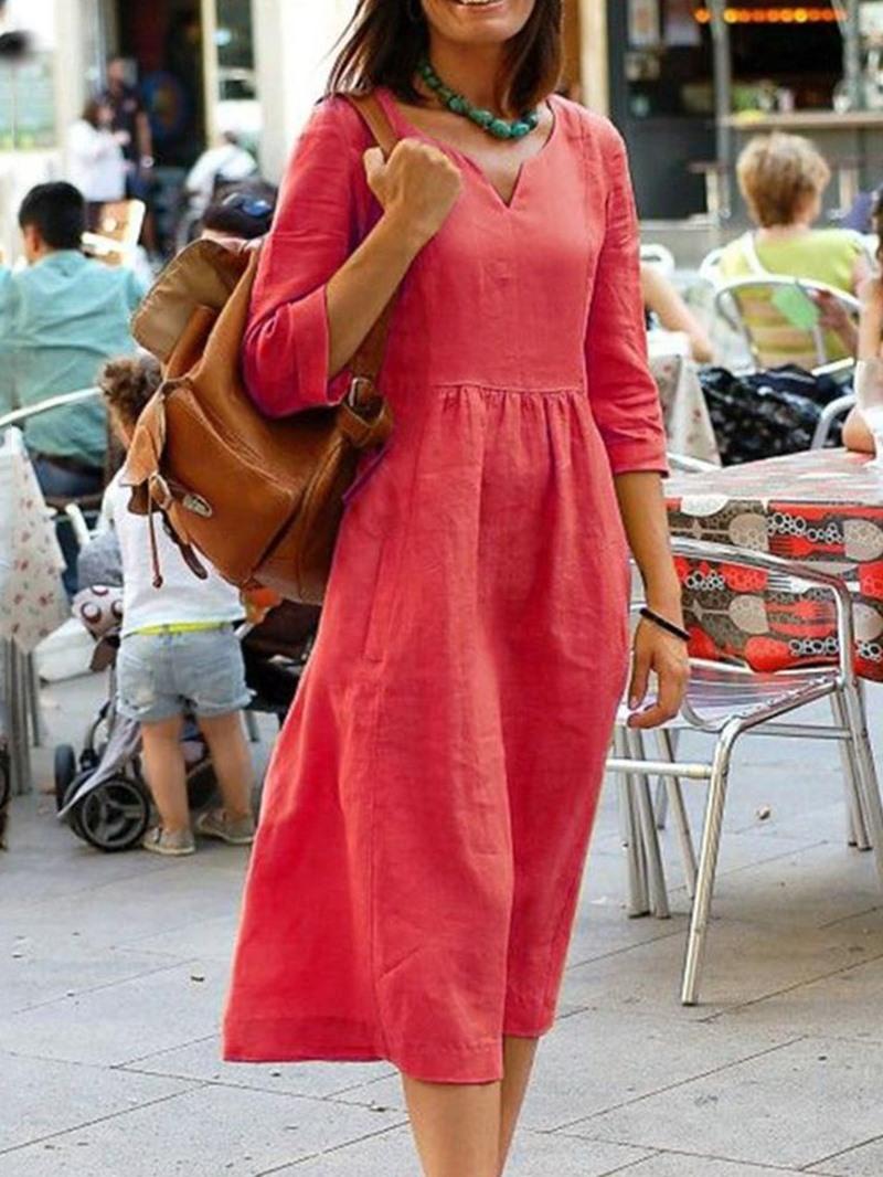 Ericdress Casual Mid-Calf Three-Quarter Sleeve V-Neck Regular Plain Dress