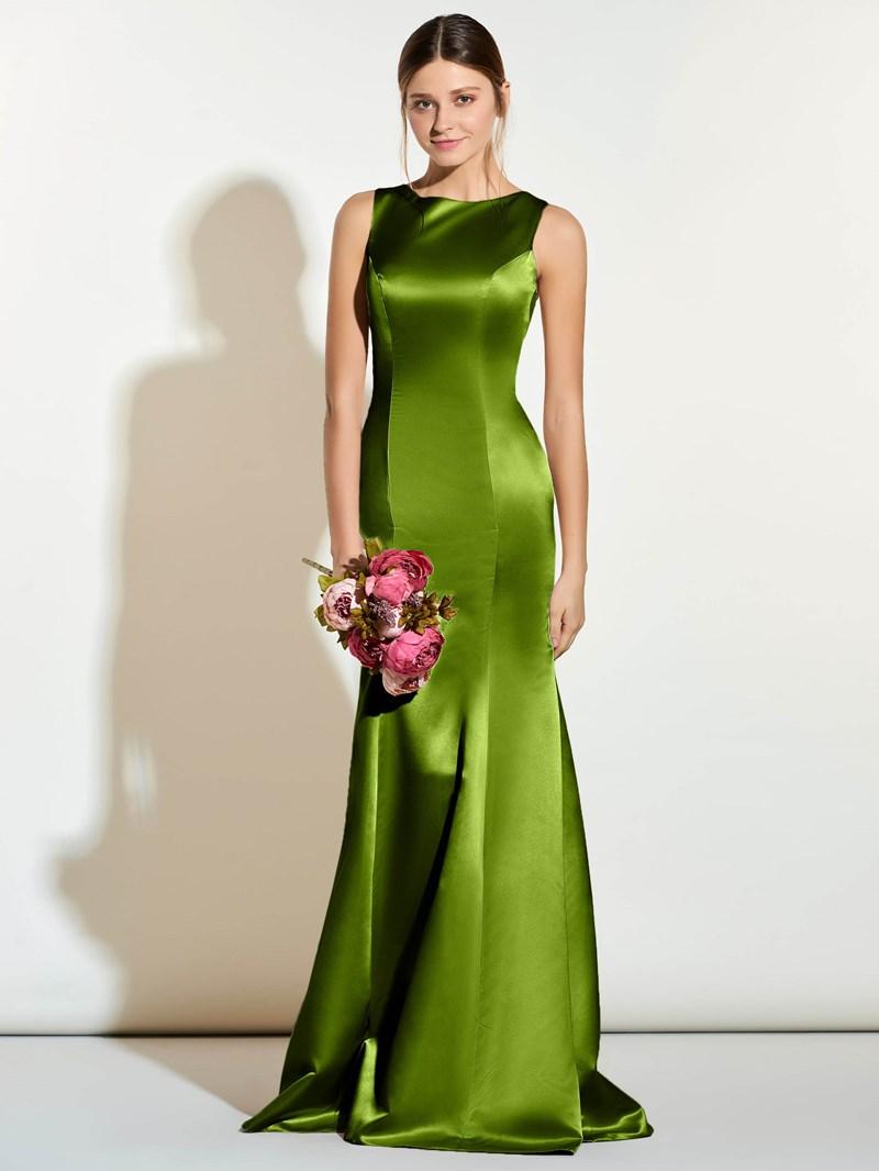 Ericdress Jewel Neck Button Lace Bridesmaid Dress