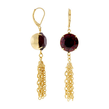1928 Crystal Drop Earrings, One Size , Red