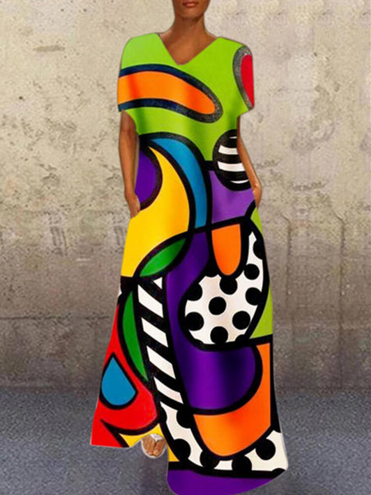 Casual Abstract Print Short Sleeve Plus Size Maxi Dress