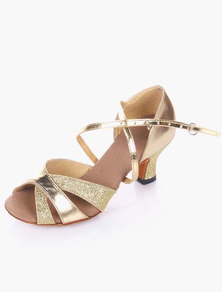 Milanoo Silver Dance Shoes Glitter Ballroom Shoes Open Toe Criss Cross Latin Dancing Shoes