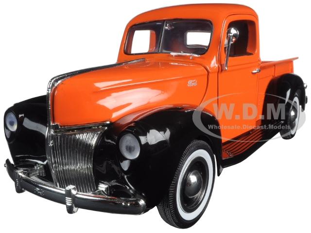 1940 Ford Pickup Truck Orange Timeless Classics 1/18 Diecast Model Car by Motormax