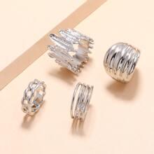 4pcs Structured Metal Ring